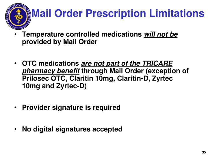 Mail Order Prescription Limitations