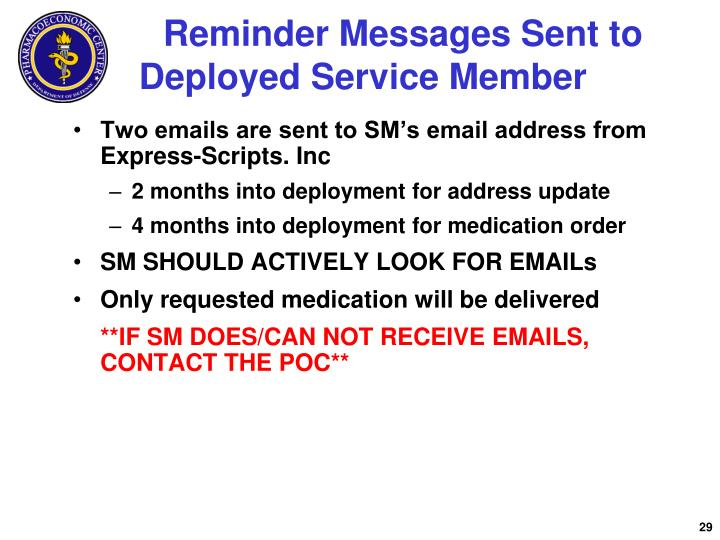 Reminder Messages Sent to