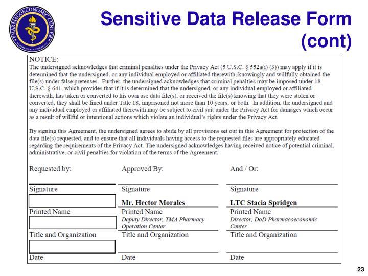 Sensitive Data Release Form (cont)