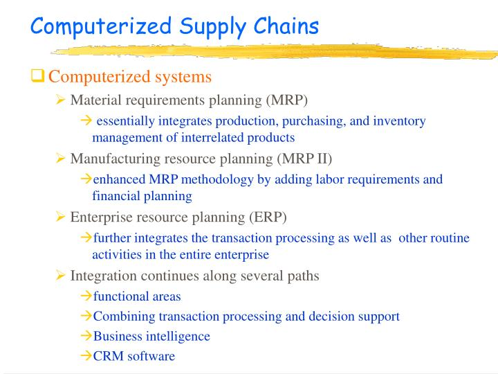 Computerized Supply Chains