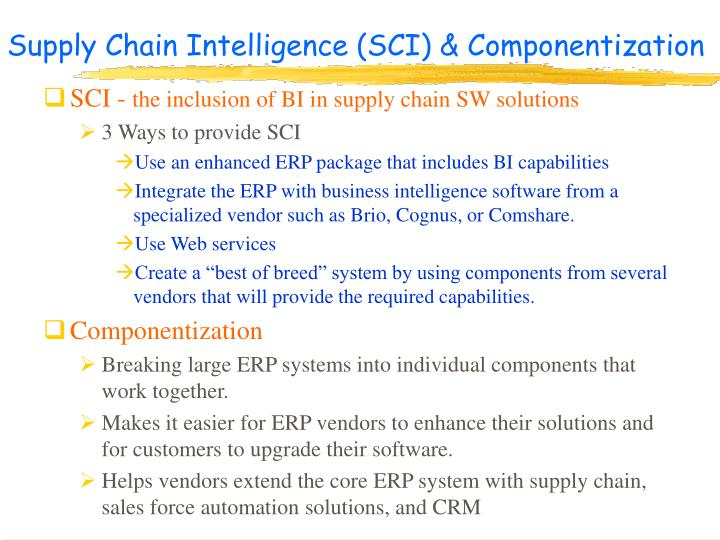 Supply Chain Intelligence (SCI) & Componentization