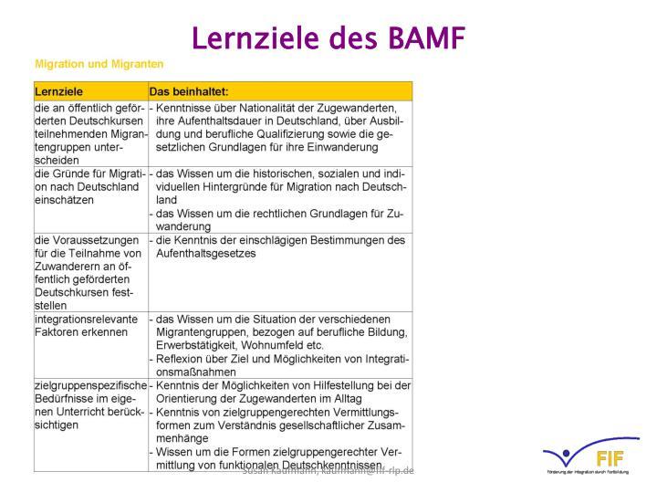 Lernziele des BAMF