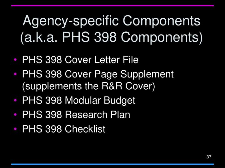 Agency-specific Components (a.k.a. PHS 398 Components)