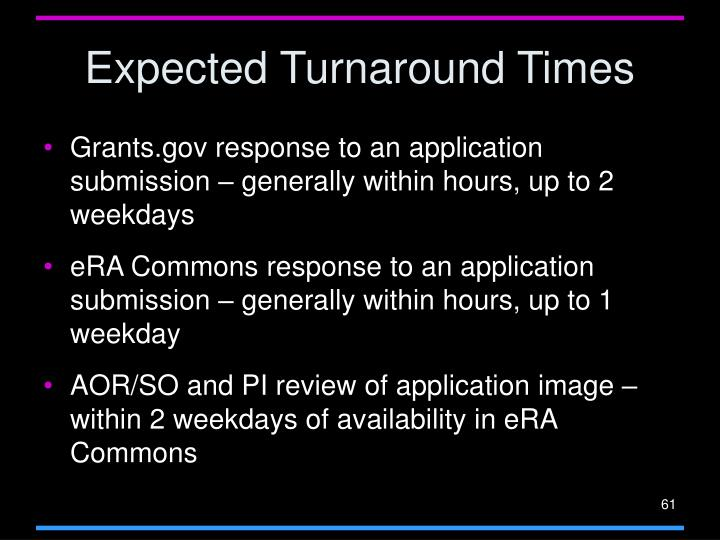 Expected Turnaround Times