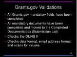 grants gov validations
