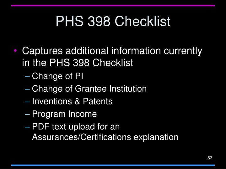 PHS 398 Checklist