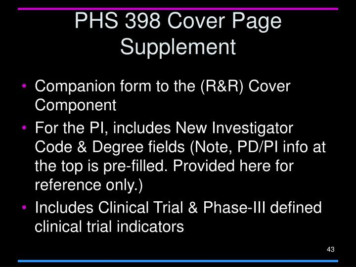 PHS 398 Cover Page Supplement