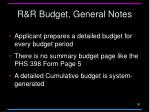 r r budget general notes