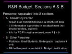 r r budget sections a b
