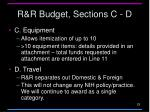 r r budget sections c d