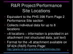 r r project performance site locations