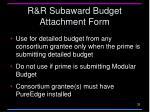 r r subaward budget attachment form