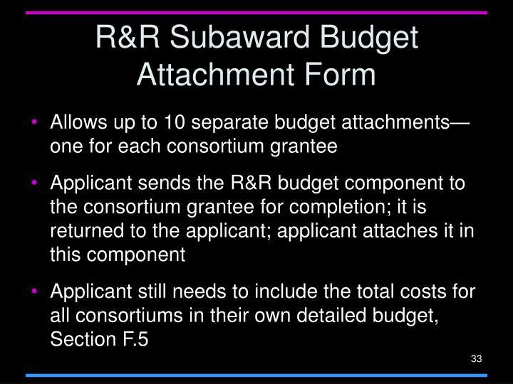 R&R Subaward Budget Attachment Form