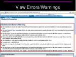 view errors warnings