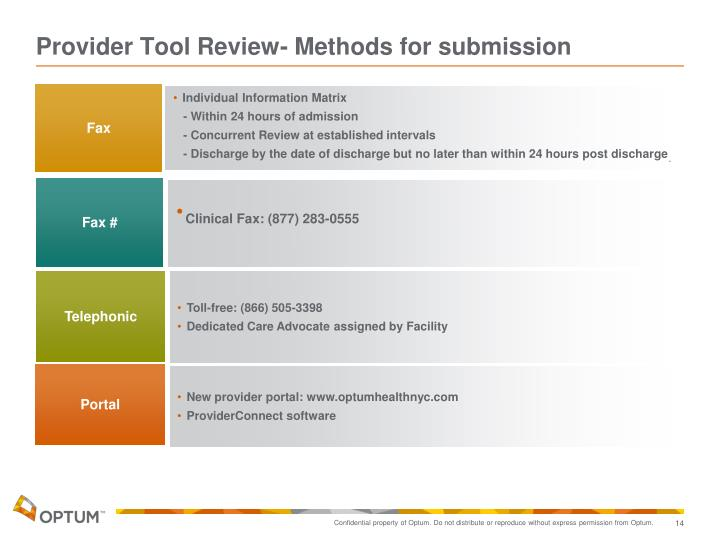 Provider Tool Review- Methods for submission