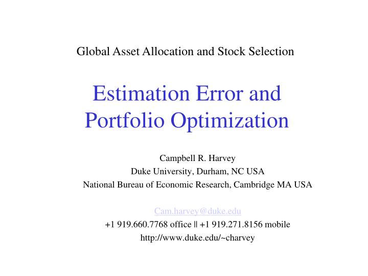 Global Asset Allocation and Stock Selection