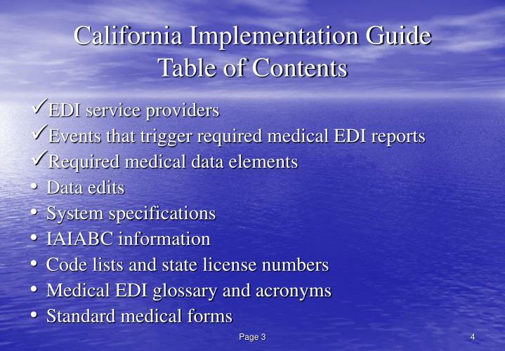 California Implementation Guide