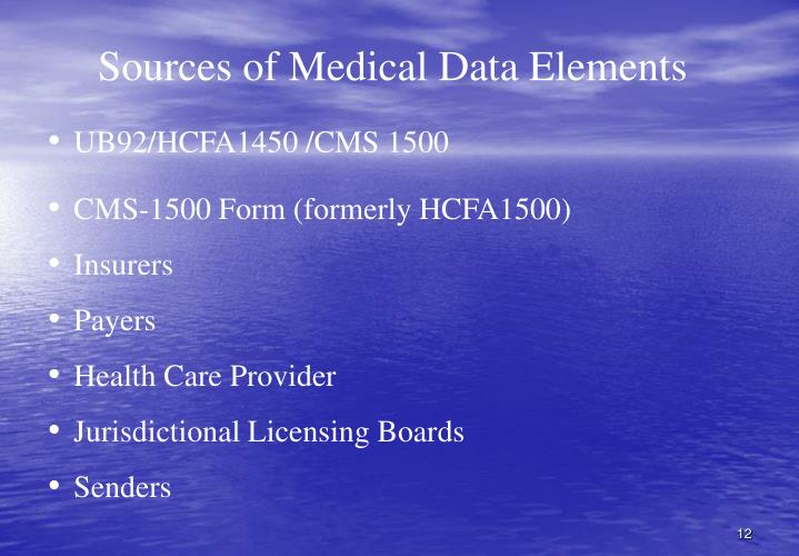 Sources of Medical Data Elements