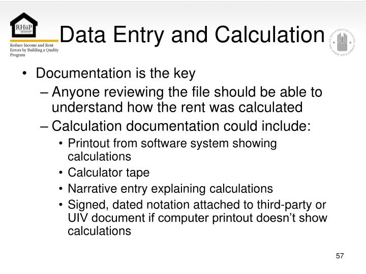 Data Entry and Calculation