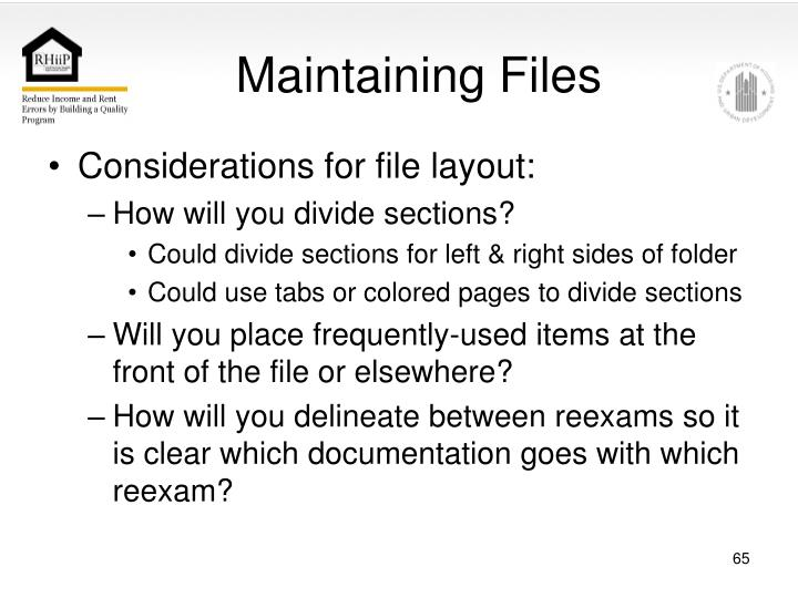 Maintaining Files