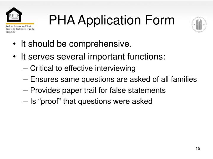 PHA Application Form