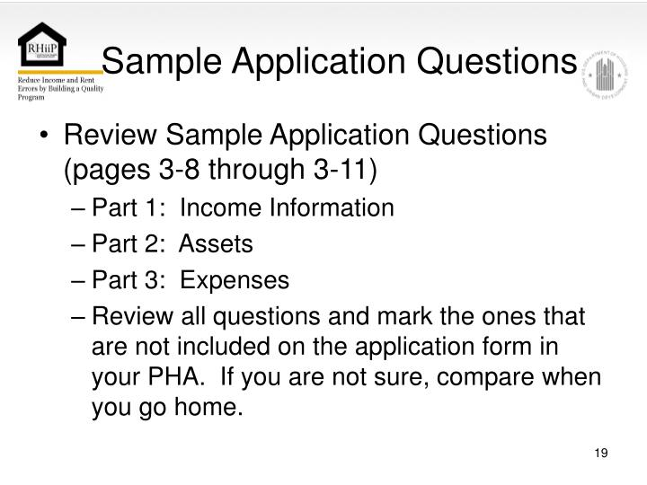 Sample Application Questions