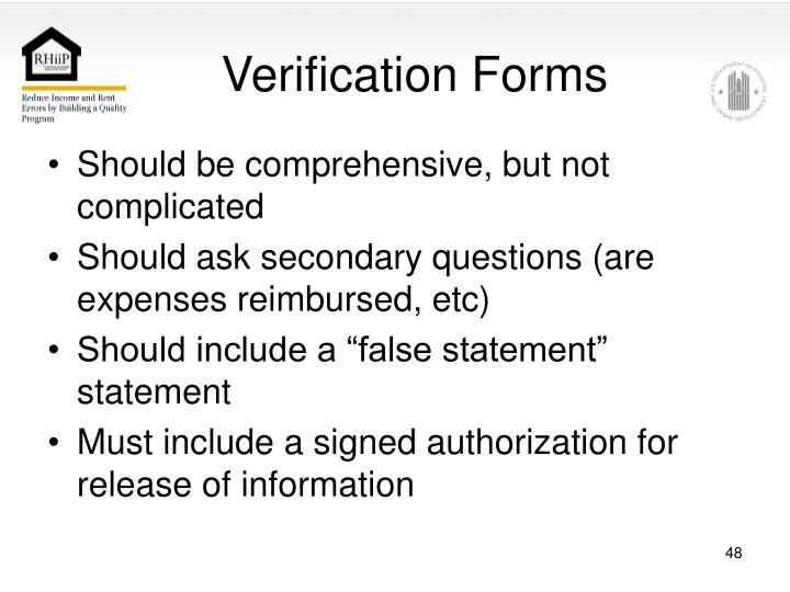 Verification Forms