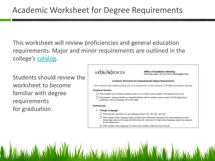 Academic Worksheet for Degree Requirements