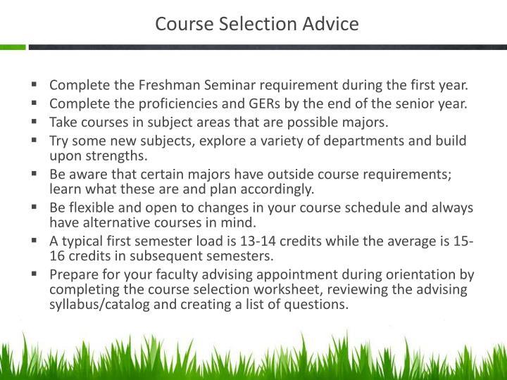 Course Selection Advice