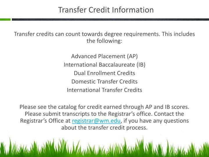 Transfer Credit Information