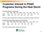 customer interest in pg e programs during the heat storm