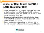 impact of heat storm on pg e care customer bills