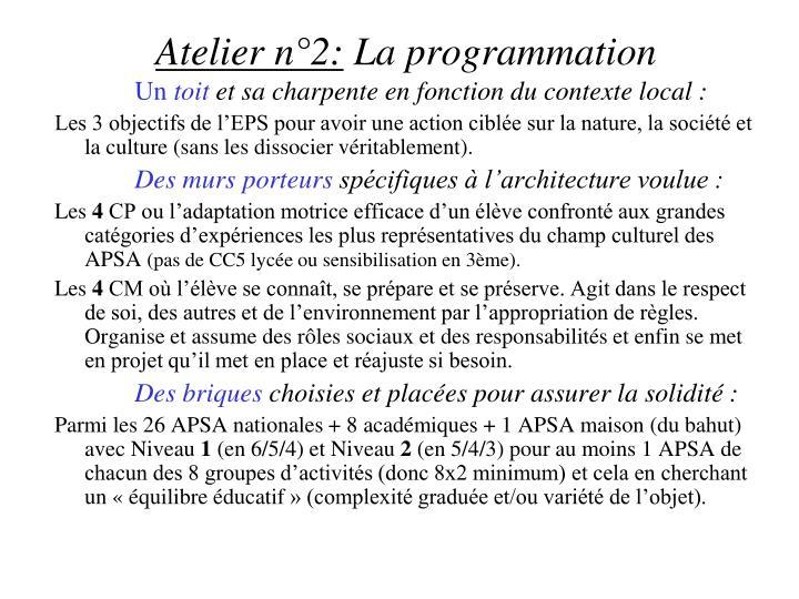 Atelier n°2: