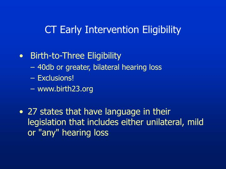 CT Early Intervention Eligibility