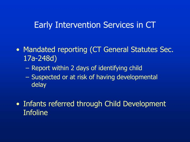 Early Intervention Services in CT