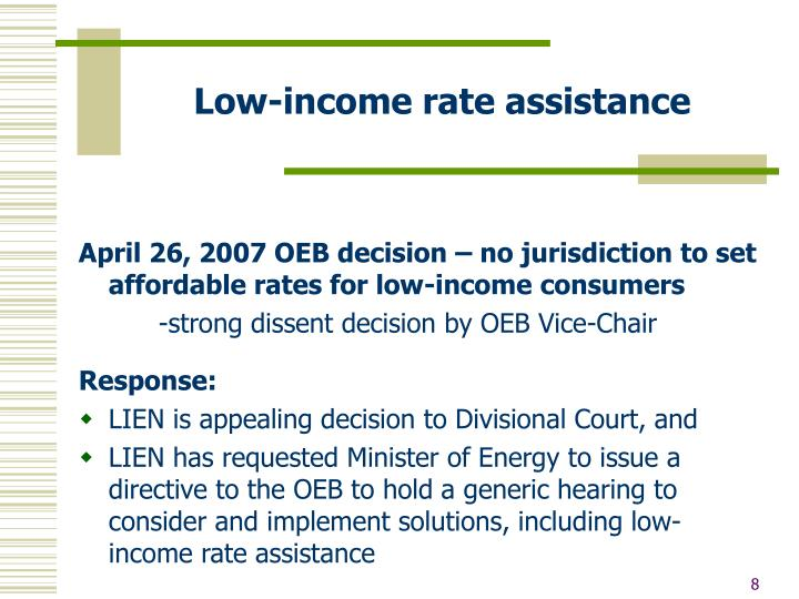 Low-income rate assistance