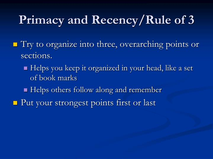 Primacy and Recency/Rule of 3