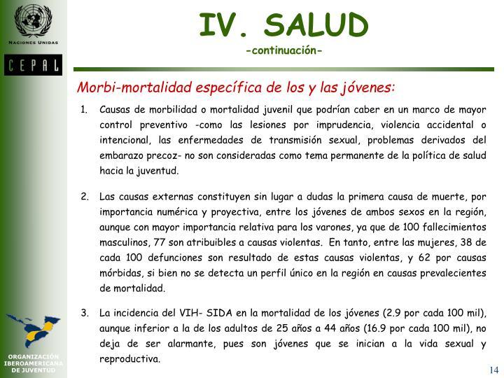 IV. SALUD