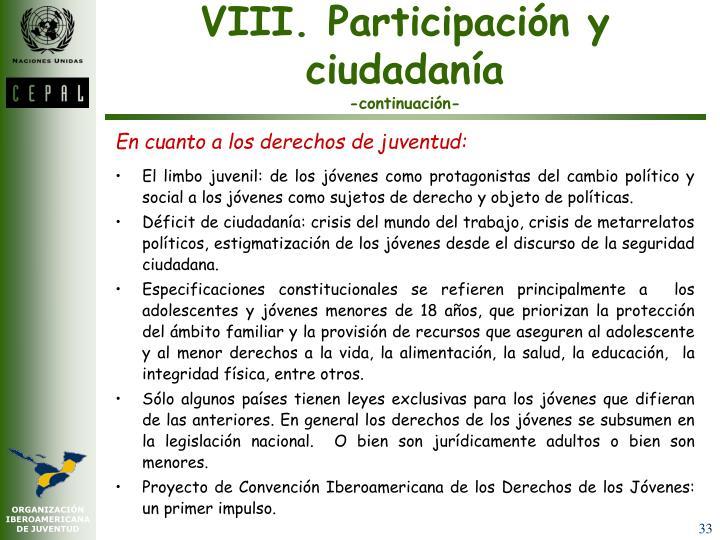 VIII. Participación y ciudadanía