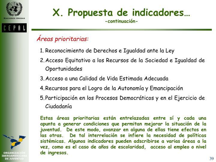 X. Propuesta de indicadores…