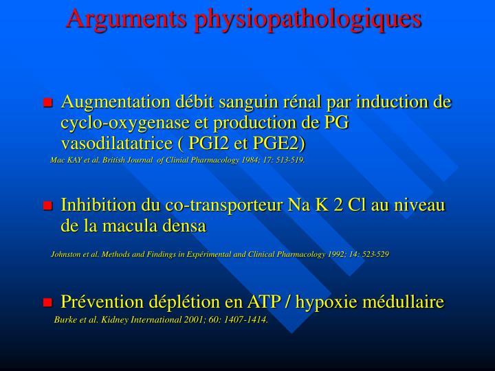 Arguments physiopathologiques