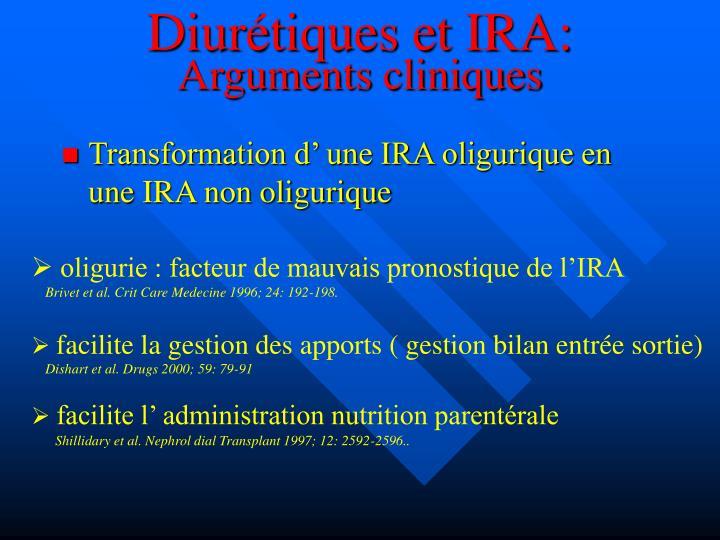 Diurétiques et IRA: