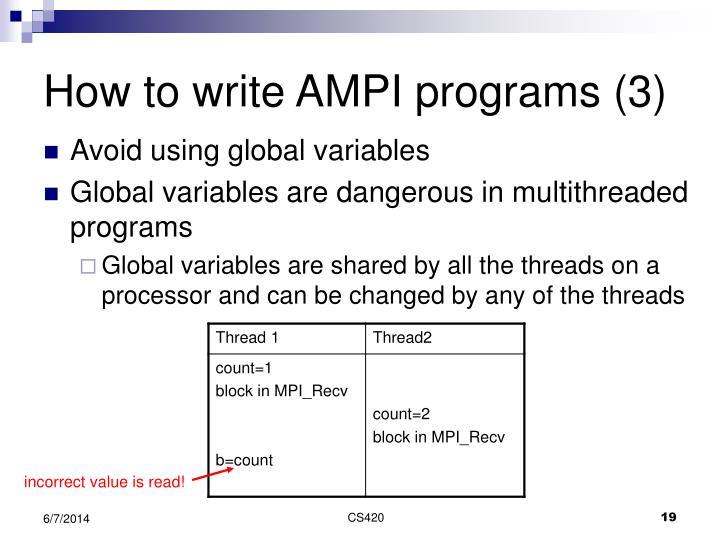 How to write AMPI programs (3)