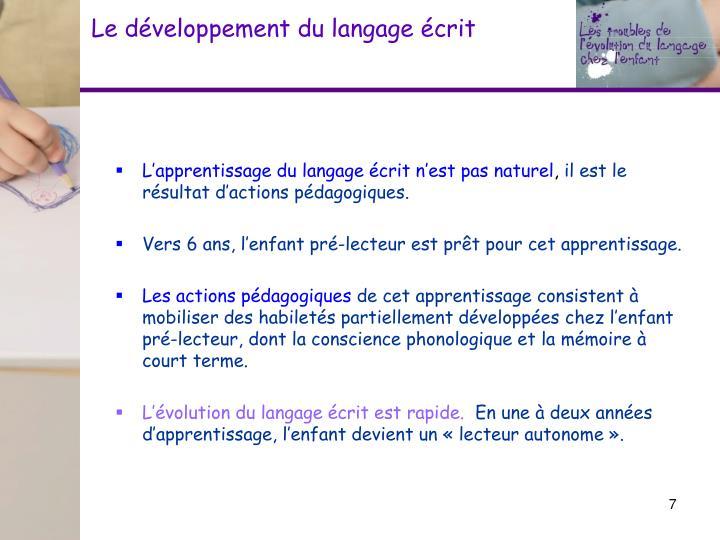 Le développement du langage écrit