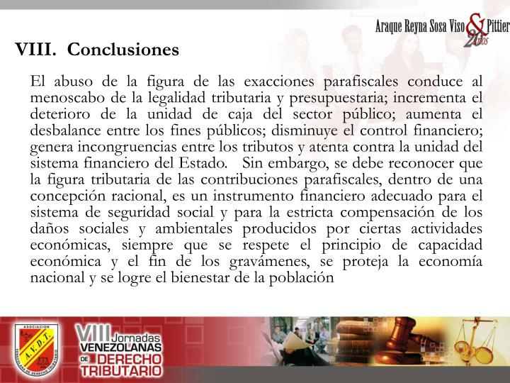 VIII.  Conclusiones