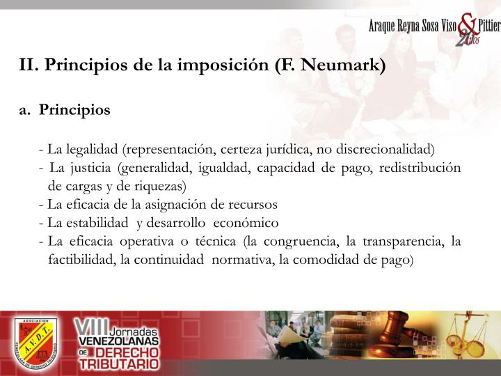 II. Principios de la imposición (F. Neumark)