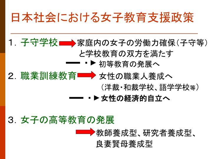 日本社会における女子教育支援政策