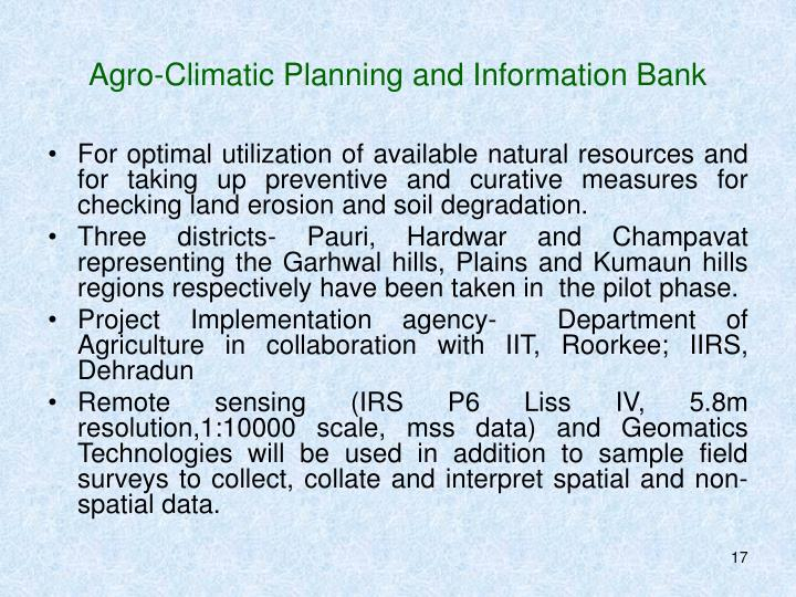 Agro-Climatic Planning and Information Bank