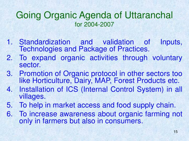 Going Organic Agenda of Uttaranchal