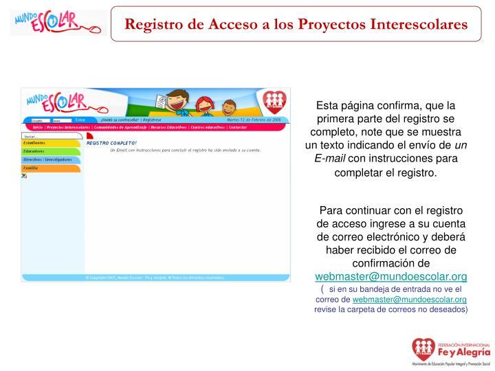 Registro de Acceso a los Proyectos Interescolares